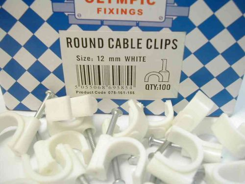 Round White Cable Clips 12mm (100 Pack)