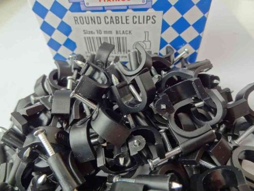 10mm Black Round Cable Clips