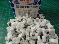 6mm Round White Cable Clips