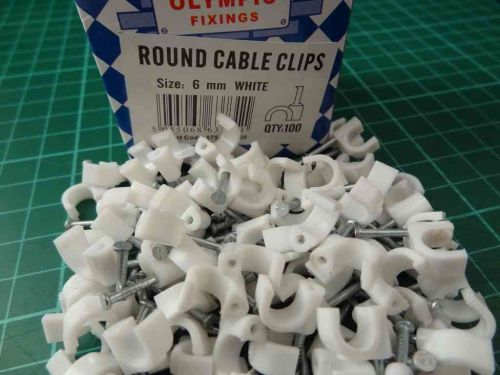 Round White Cable Clips 6mm (100 Pack)