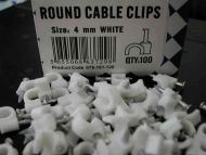 4mm Round White Cable Clips (100 Pack)