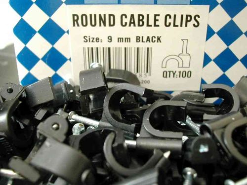 Round Black Cable Clips 9mm (100 Pack)