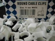 9mm Round White Cable Clips (100 Pack)