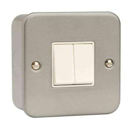 Metal Clad Light Switch 2 Gang 2 Way | Click CL012