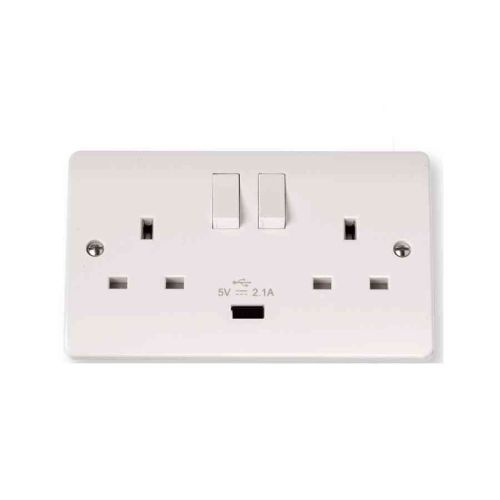 13A Socket Outlet 2 Gang With USB | Click CMA770