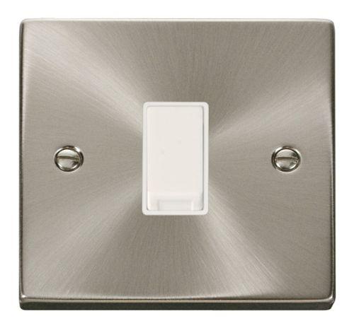 Satin Chrome 1 Gang 2 Way Light Switch | White Insert