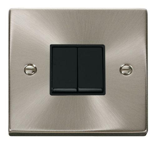 Satin Chrome 2 Gang 2 Way Light Switch | Black Insert
