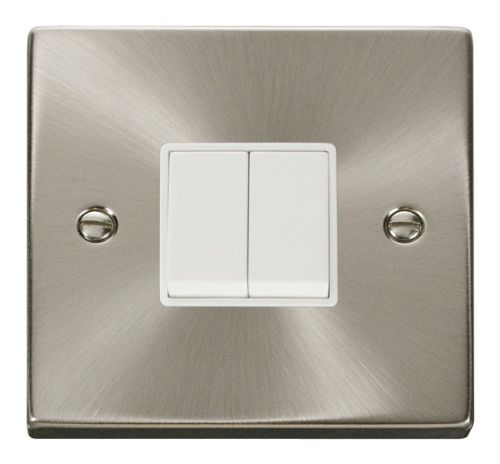 Satin Chrome 2 Gang 2 Way Light Switch | White Insert