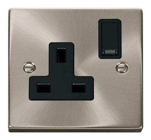 Satin Chrome 1 Gang 13A Plug Socket Outlet | Black Insert