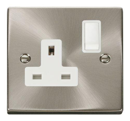 Satin Chrome 1 Gang 13A Plug Socket Outlet | White Insert