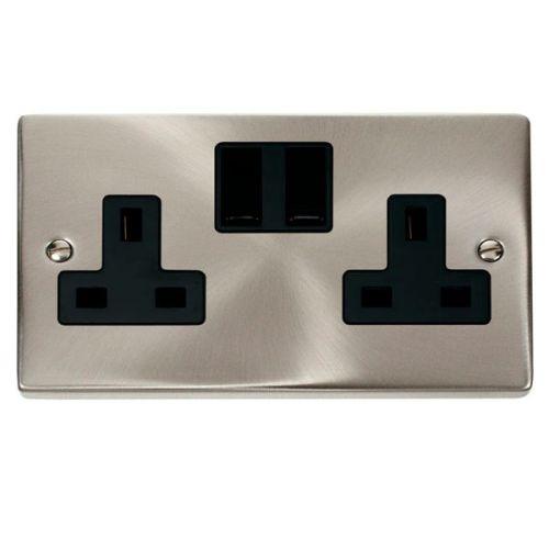 Satin Chrome 2 Gang 13A Plug Socket Outlet | Black Insert