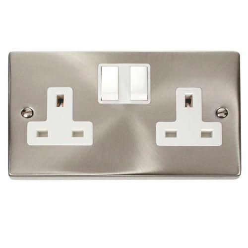 Satin Chrome 2 Gang 13A Plug Socket Outlet | White Insert