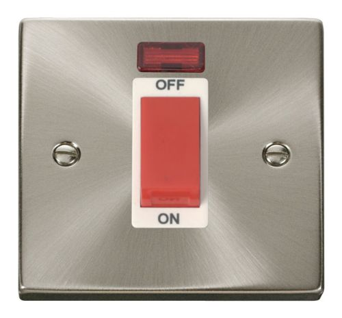 Satin Chrome 45A Cooker Switch With Neon | White Insert