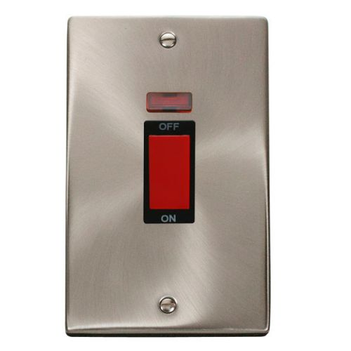 Satin Chrome 2 Gang 45A Cooker Switch With Neon | Black Insert