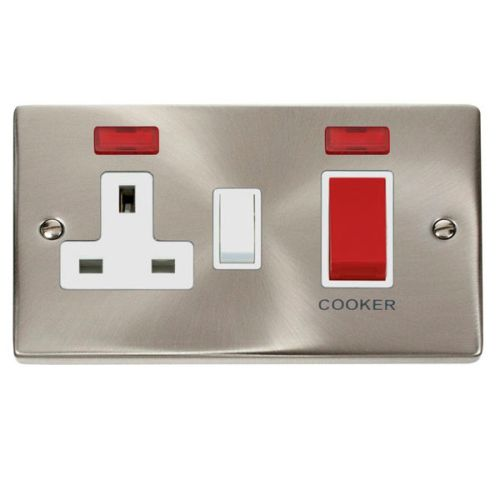 Satin Chrome Cooker Control Unit With Neon | White Insert