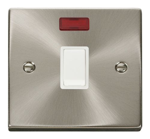 Satin Chrome 20A Switch With Neon | White Insert