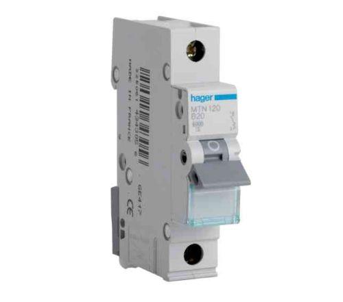 Hager 20A MCB | 20 Amp MTN120 Type B Miniature Circuit Breaker