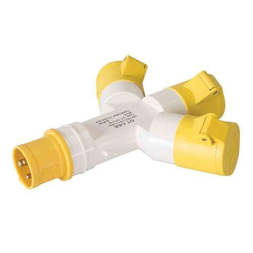 16A Yellow 110V 3 Way Splitter