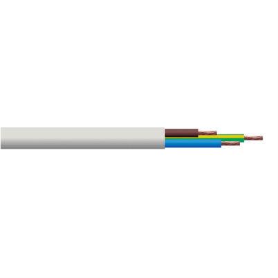 3 Core Flexible Cable | White | 0.75mm / Per Metre