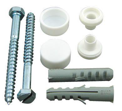Toilet Pan Floor Fixing Kit   Screws, Plastic Plugs and Caps