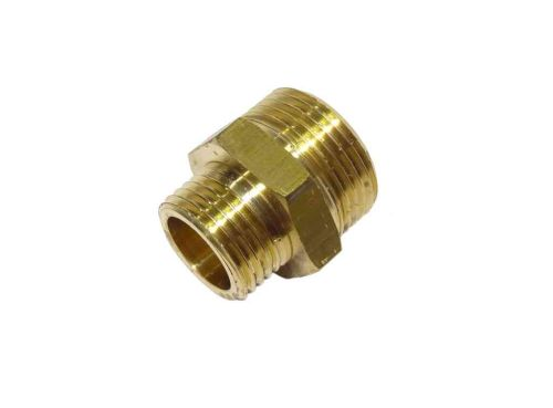 3/4 Inch x 1/2 Inch BSP Brass Reducing Hex Nipple
