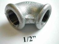 1/2 Inch BSP Galvanised Iron Elbow | FxF Female x Female