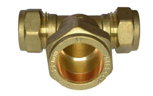 15mm X 15mm X 22mm Compression Tee Stevenson Plumbing