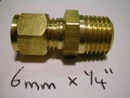 6mm Compression x 1/4 Inch BSP Male Adaptor / Coupler