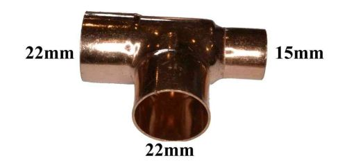 22mm x 15mm x 22mm End Feed Tee