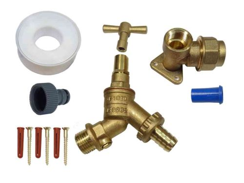 20mm MDPE Lockshield Outside Tap Kit With Double Check Valve