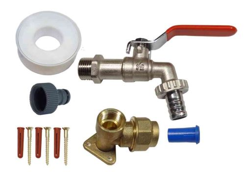 20mm MDPE Lever Outside Tap Kit | Red Handle