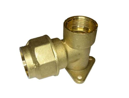 "25mm MDPE x 3/4"" BSP Brass Wall Plate Elbow"
