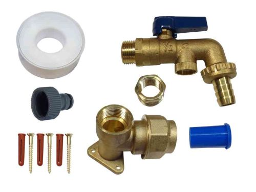 Brass Lever Outside Tap Kit For 25mm MDPE Pipe With DCV