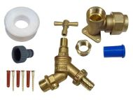 25mm MDPE Lockshield Outside Tap Kit With Double Check Valve