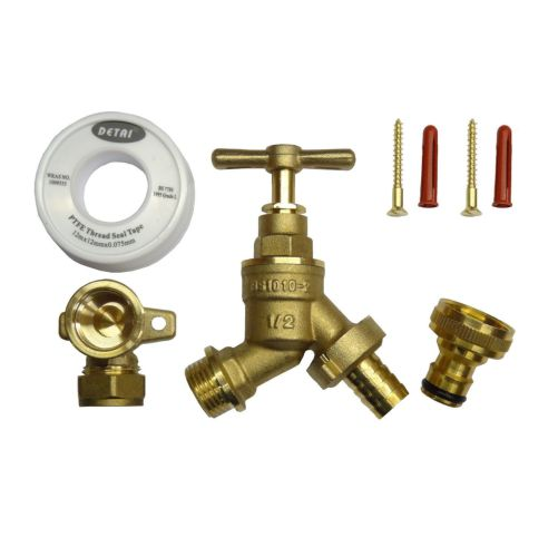 All Brass Outside Tap Kit With 15mm Wall Plate Elbow