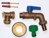 Double Check Valve Lever Outside Tap Kit With 15mm Wall Plate Elbow