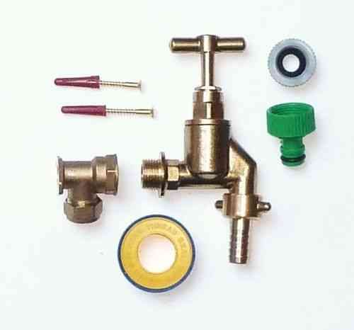 Heavy Duty Outside Tap Kit With Wall Plate Elbow