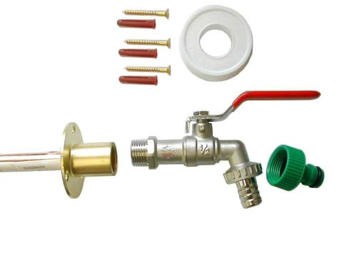 Lever Outside Tap Kit With Through Wall Back Plate