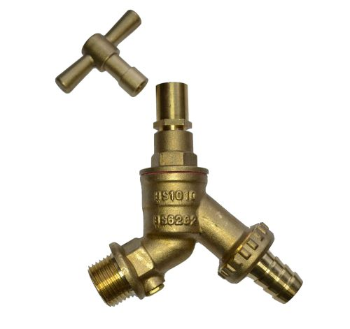 Lockshield Outside Tap With Removable Handle and Double Check Valve 1/2""