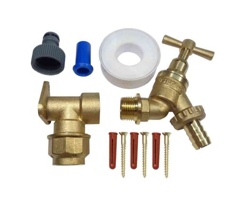 20mm MDPE Outside Tap Kit With Brass Wall Plate Elbow