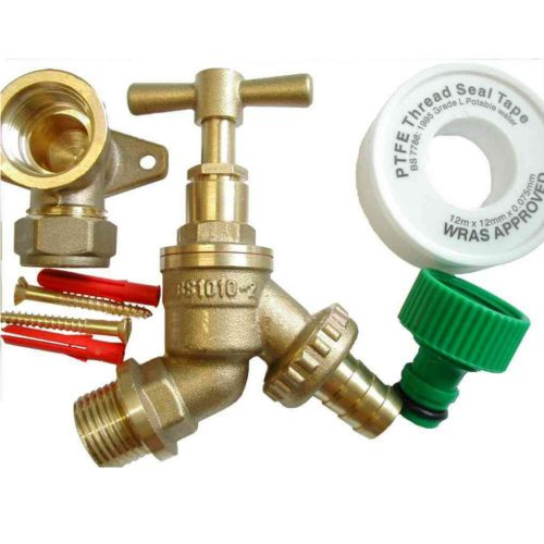Outside Tap Kit With 15mm Wall Plate & Garden Hose Fittings