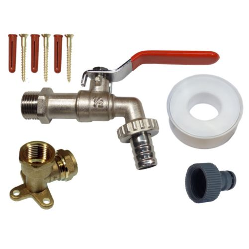 PTFE Tape and Screws Elbow Wall Plate Garden Tap Kit With Hose Lock Connector