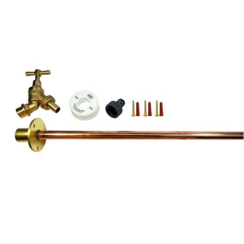 Outside Tap Kit With Extra Long 600mm Through Wall Pipe / Plate