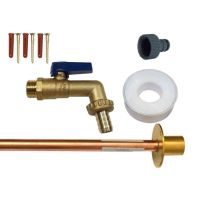 Brass Lever Outside Tap Kit With Through Wall Pipe / Wall Plate