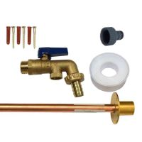 Brass Lever Outside Tap Kit With DCV & Through Wall Pipe / Wall Plate
