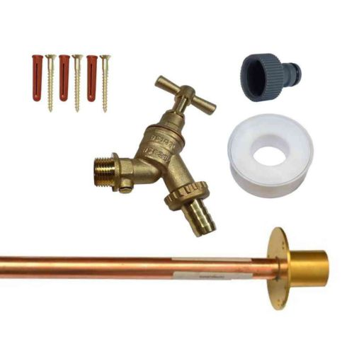 Outside Tap Kit With Through Wall Pipe / Plate and Double Check Valve