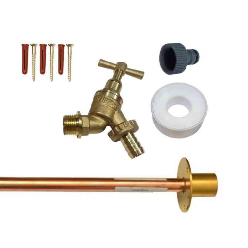 Outside Tap Kit With Through Wall Pipe / Wall Plate