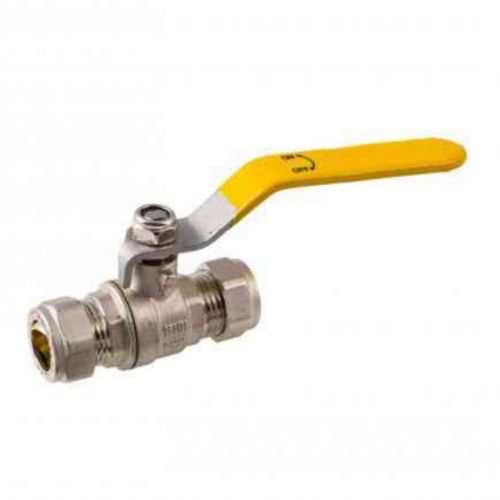 15mm Lever Ball Valve | CxC | Yellow Handle