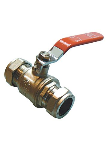 Lever Ball Valve 22mm Compression | Red Handle
