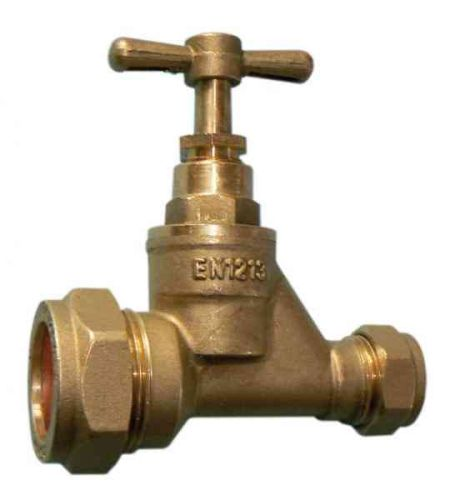 Brass Stopcock Valve 25mm MDPE to 15mm Copper